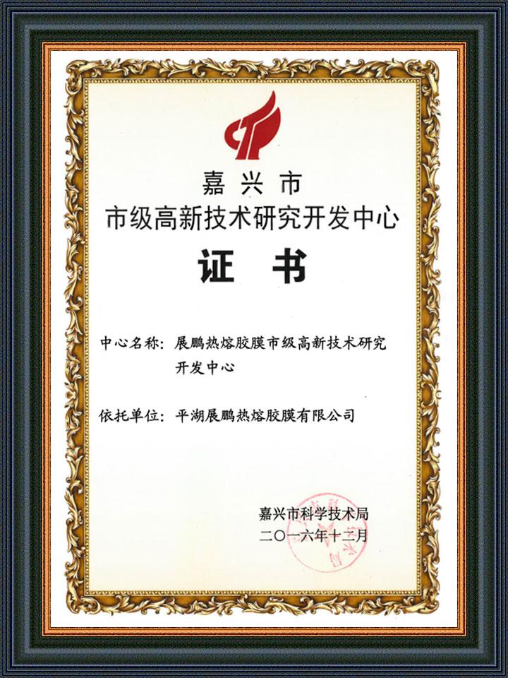 嘉兴市高新技术研发证书